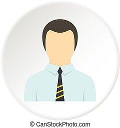 ビジネス, ユーザー, スーツ, 円, アイコン, 人