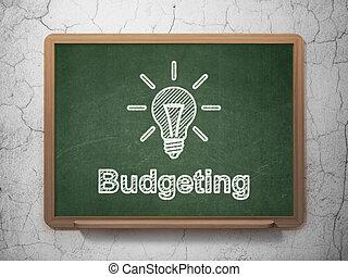 ビジネス, ライト, 予算を組む, 黒板, 背景, 電球, concept: