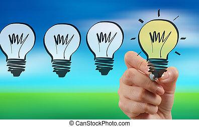 ビジネス, ライト, 手, ぼやけ, 電球, 図画, 作戦, 創造的