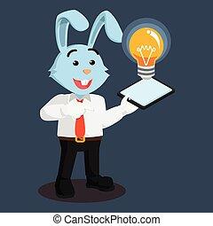 ビジネス, ライト, 電話, 保有物, 電球, 表示, うさぎ