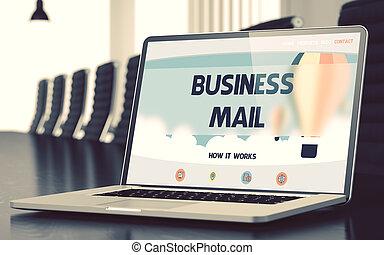 ビジネス, ラップトップ, -, screen., メール, 3d., closeup.
