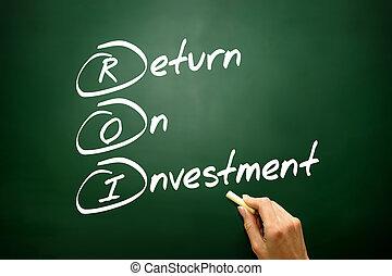 ビジネス, リターン, 概念, 作戦, 投資, (roi), 手, 引かれる