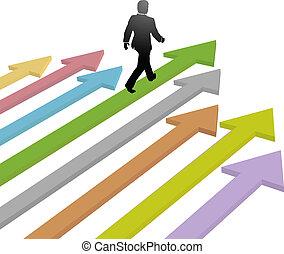 ビジネス, リーダー, 歩く, へ, 進歩, 未来, 上に, 矢