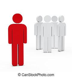 ビジネス, リーダー, 赤, チーム