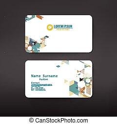ビジネス, レイアウト, イラスト, ベクトル, デザイン, テンプレート, カード, 幾何学的