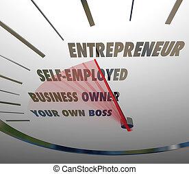 ビジネス, レベル, リーチ, 企業家, 言葉, 所有者, 新しい, 速度計