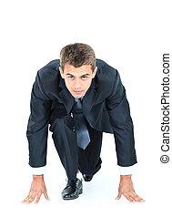 ビジネス, 上に, -, 始めなさい, 動くこと, 準備ができた, 白, あなたの, 人