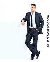 ビジネス, 上に, 幸せ, 背景, 若い, 隔離された, 肖像画, 人, 提示, 微笑, ブランク, 看板, 白