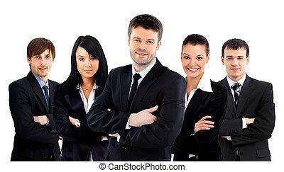 ビジネス, 上に, 隔離された, 大きい, 背景, チーム, 白