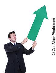 ビジネス, 上向き矢印, 人