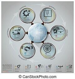 ビジネス, 世界的である, 拡大する, 図, ガラス, infographic, 矢, 円, ラウンド, 旅行