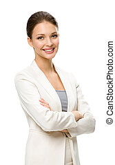 ビジネス, 交差させる, 女性手, 肖像画, 半分長さ, 人
