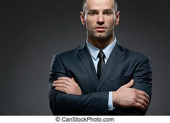 ビジネス, 交差する 腕, 肖像画, 半分長さ, 人