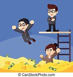 ビジネス 人々, お金, 楽しみ, 持つこと, プール