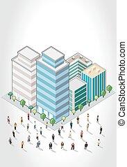 ビジネス 人々, の前, a, 都市