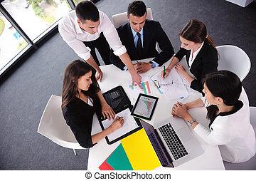 ビジネス 人々, グループ, 中に, a, ミーティング, ∥において∥, オフィス