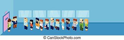 ビジネス 人々, グループ, 群集, 立ちなさい, ライン, へ, ドア, オフィス, 待つこと