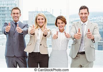 ビジネス 人々, ジェスチャーで表現する, 「オーケー」, 中に, オフィス