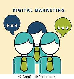 ビジネス 人々, スピーチ泡, デジタル, マーケティング