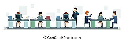 ビジネス 人々, チームワーク, デスクトップコンピュータ, 旗