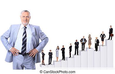 ビジネス 人々, チーム, そして, diagram.