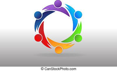 ビジネス 人々, ベクトル, チームワーク, パートナー, ロゴ, アイコン