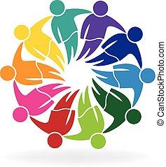 ビジネス 人々, ベクトル, チームワーク, ロゴ, ミーティング