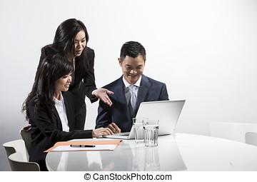 ビジネス 人々, 一緒に, アジア人, ミーティング, 持つこと