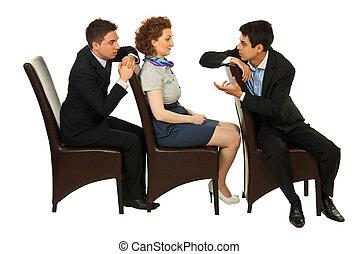 ビジネス 人々, 上に, 椅子, 持つこと, 会話