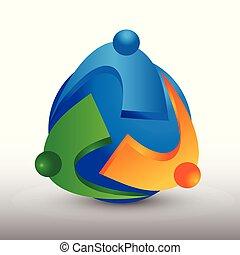 ビジネス 人々, 世界的である, ベクトル, チームワーク, ロゴ