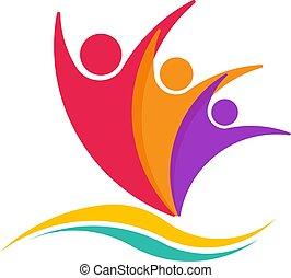 ビジネス 人々, 人々。, 3, イラスト, life., ロゴ, 持つこと, 幸せ