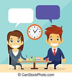 ビジネス 人々, 人と女性の話すこと, 論じる, チャット, コミュニケーション