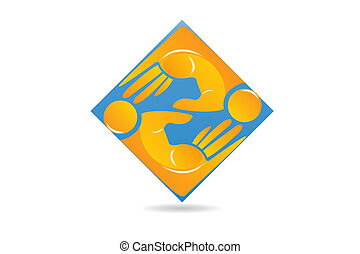 ビジネス 人々, 手, チームワーク, ベクトル, ロゴ, アイコン