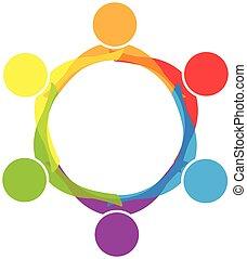 ビジネス 人々, 抱き合う, ベクトル, チームワーク, ロゴ, アイコン