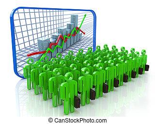 ビジネス 人々, 持つこと, プレゼンテーション, 上に, 経済, 開発