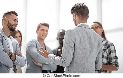 ビジネス 人々, 持つこと, 会話, 上に, 新しい, project.