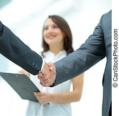 ビジネス 人々, 揺れている手, 仕上げ, の上, a, ミーティング