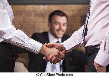 ビジネス 人々, 揺れている手, 後で, ミーティング, 中に, cafe., ビジネス チーム, 揺れている手, 中に, カフェ