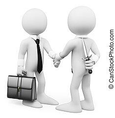 ビジネス, 人々。, 男性, deal., 裏切りなさい, 取引完了, 白, 3d