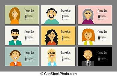 ビジネス 人々, 肖像画, デザイン, カード, あなたの