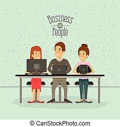 ビジネス 人々, 色, モデル, 装置, 火花, チームワーク, 背景, 机, 技術