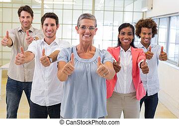 ビジネス 人々, 諦める, カメラ, 親指, 微笑