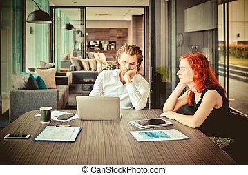ビジネス 人々, 部屋, 強調された, 西部, チームのミーティング