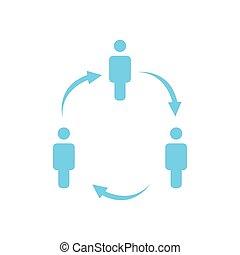 ビジネス 人々, 階層, 会社, 矢, 隔離された, イラスト, 3, バックグラウンド。, ベクトル, レポート, アイコン, 白, concept., circle., 構造, 円