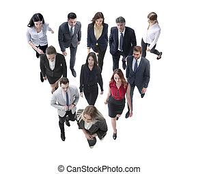 ビジネス 人々, 隔離された, の後ろ, 行く, leader., 白