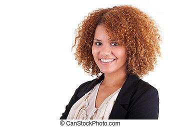 ビジネス 人々, -, 隔離された, 若い, アメリカ人, 黒い背景, アフリカ 女, 肖像画, 白