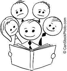 ビジネス 人々, 4, の後ろ, 本, ビジネスマン, 微笑, 読書, 他