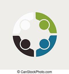 ビジネス 人々, 4, チーム, ロゴ, ミーティング