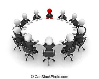 ビジネス 人々, concept., モデル, チームワーク, 小さい, テーブル。, ラウンド, 3d