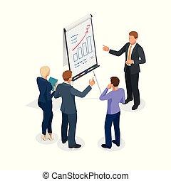 ビジネス 人々, flipchart, 見る, グループ, グラフ, 等大